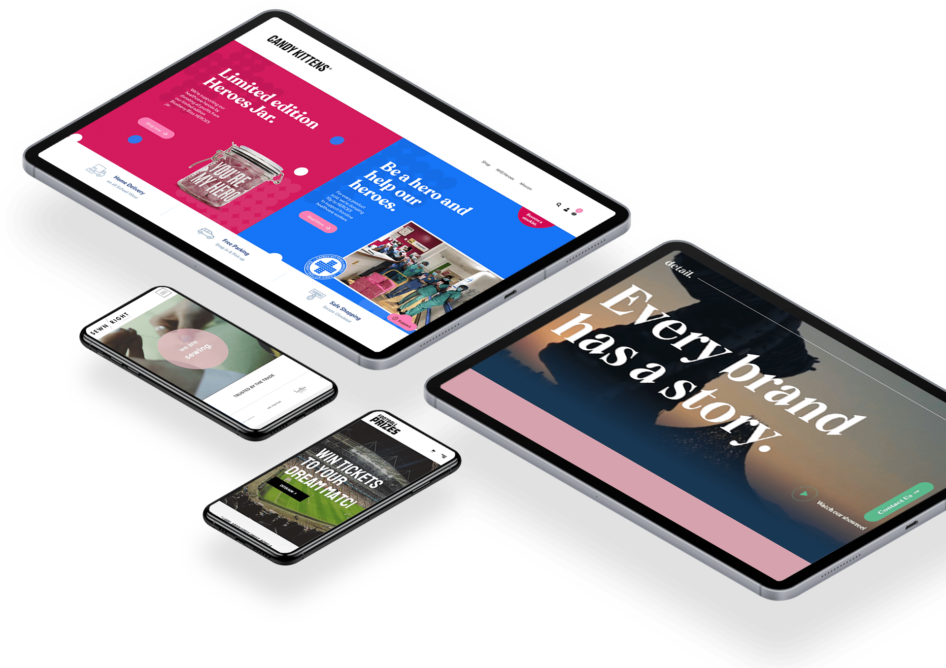 Devices showcasing Shopify and WordPress websites