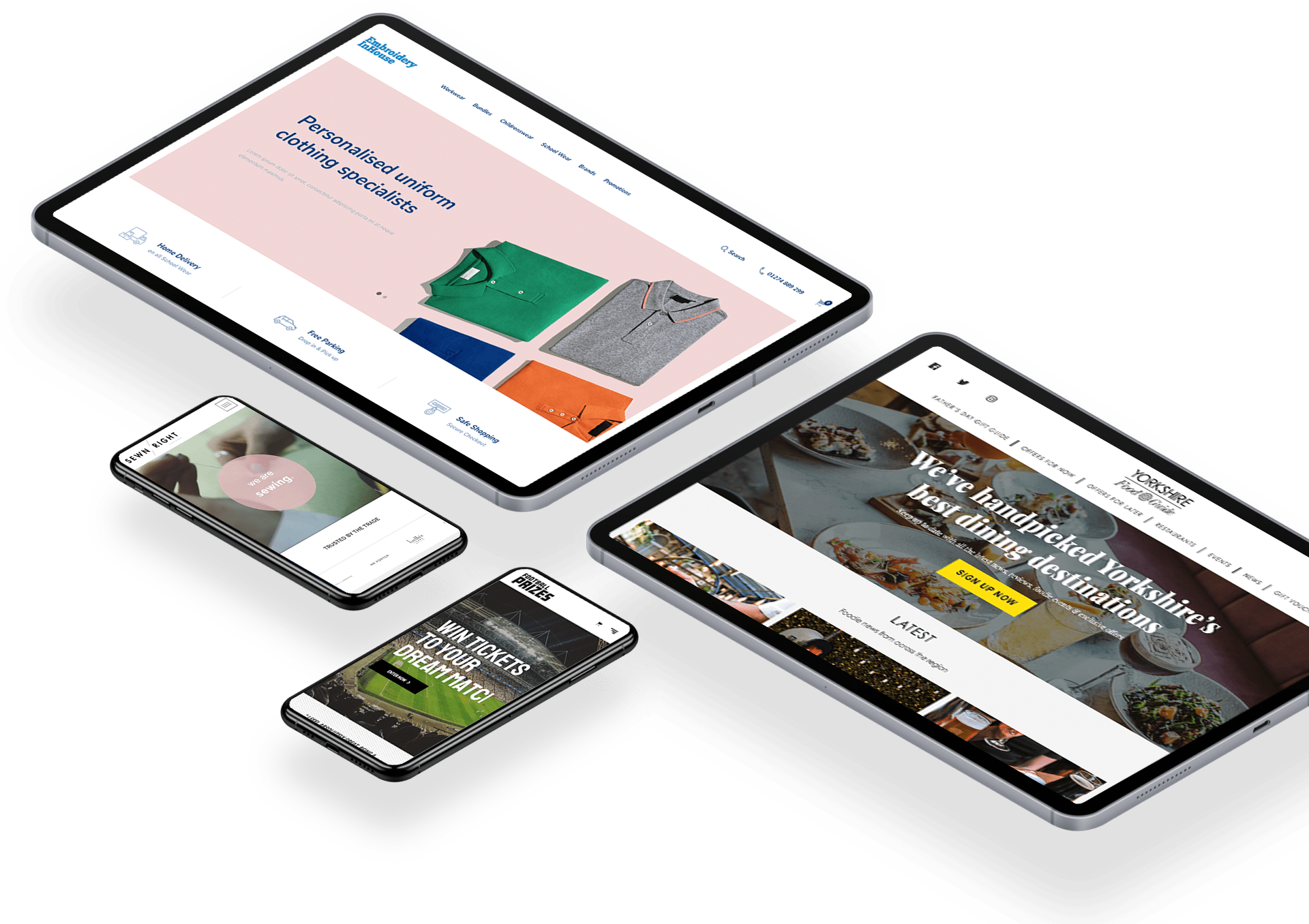 Various devices showcasing 6B's eCommerce websites
